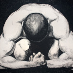 "Original Art, Nude Male Figure Art - drawing / illustration Charcoal and Graphite ""CROUCHING MAN"" by Marcy Ann Villafaña"