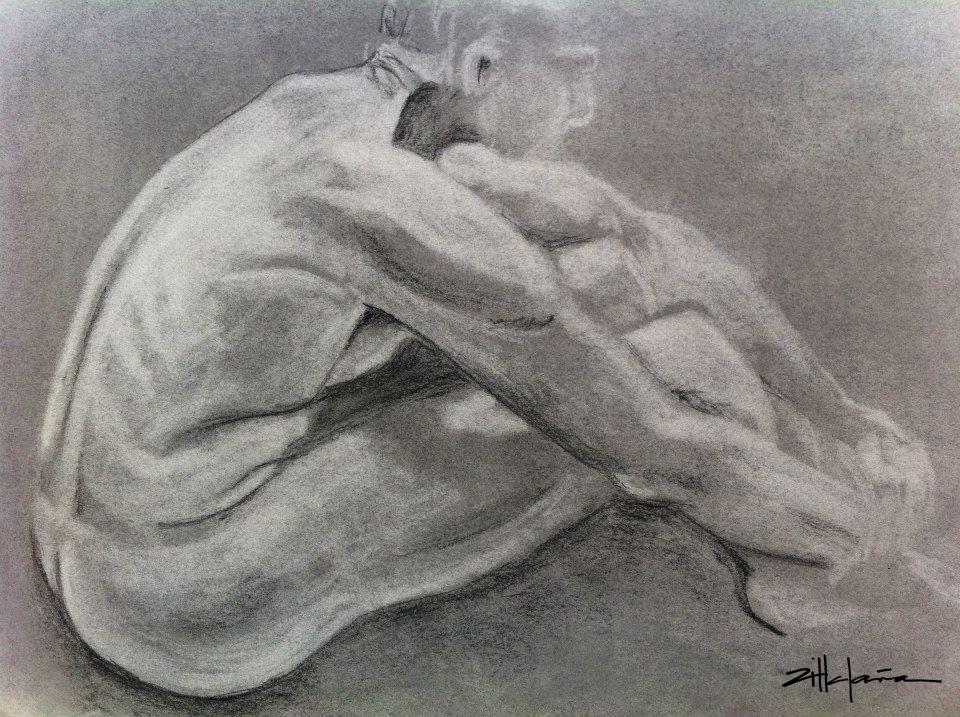 "Original Art , Bone study - charcoal ""RESTING - DAVE"" by Marcy Ann Villafaña ""RESTING - Dave"" 25"" x 19"" Pastels 2013"