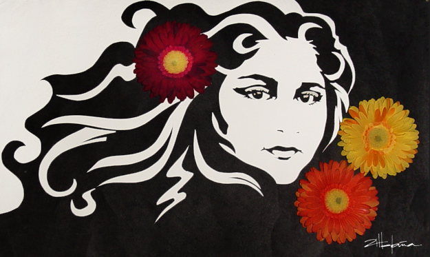 "Original Art , Female Figure in Mixed Media (handmade paper on paper) ""AMONG the FLOWERS""- Dina by Marcy Ann Villafaña"