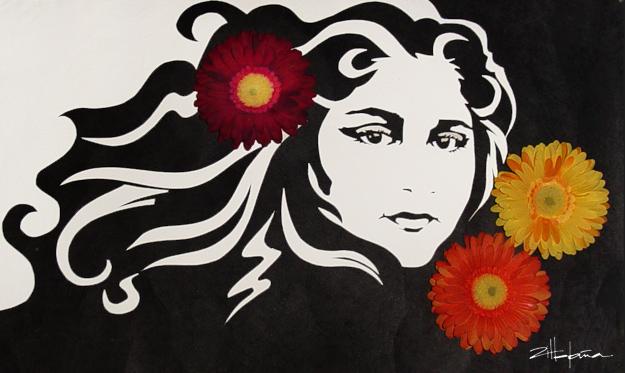 "Original Art , Female Figure in Mixed Media (handmade paper on paper) ""AMONG the FLOWERS""- Dina by Marcy Ann Villafaña"