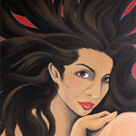 "Original Art , Female Figure in Acrylic ""WILD HAIR"""