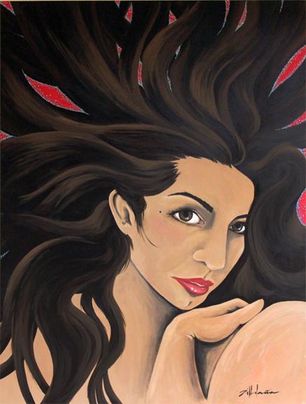 "Original Art , Female Figure in Acrylic ""WILD HAIR"""