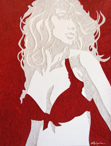 "Original Art , Female Figure in Mixed Media (handmade paper on paper) ""CRIMSON"" by Marcy Ann Villafaña"