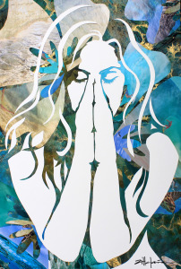 "Original Art , Female Figure - Collage Paper ""Island Dream"" by Marcy Ann Villafaña"