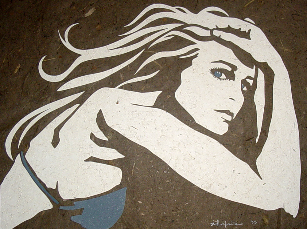 "Original Art , Female Figure in Mixed Media (handmade paper on paper) ""JESS"" by Marcy Ann Villafaña"