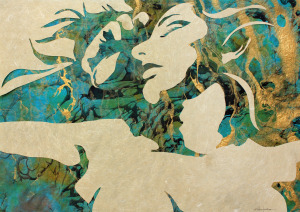 "Original Art , Female Figure in Mixed Media (handmade paper on paper) & Metallic Paint ""Release"" by Marcy Ann Villafaña"