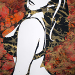 "Original Art , Female Figure in Mixed Media (handmade paper on paper) & Metallic Paint ""Cold Fire"" by Marcy Ann Villafaña"