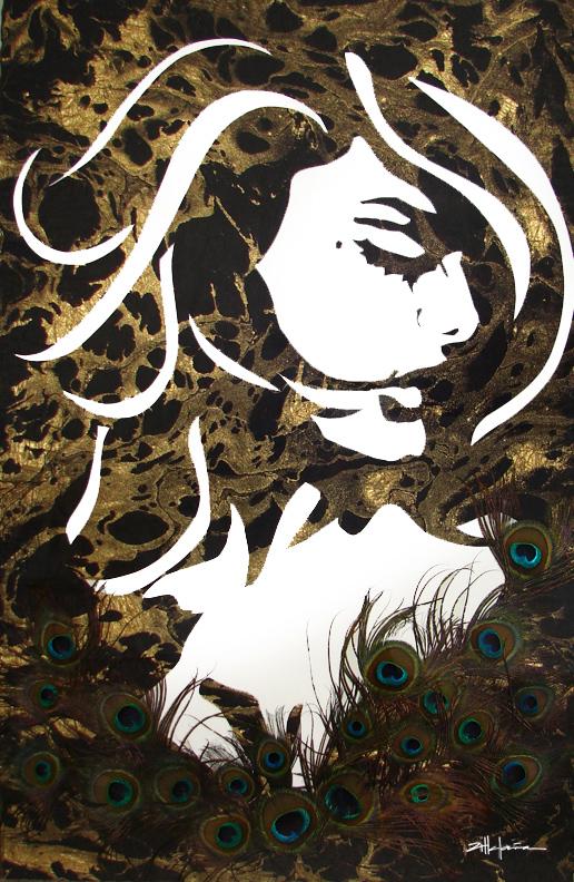 "Original Art , Female Figure in Mixed Media (handmade paper on paper), metallic paint, peacock feathers ""Mori"" by Marcy Ann Villafaña"