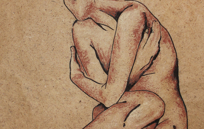 "Original Art , Nude Female - Organic Bark Paper - India Ink & Pastels ""SHY"" by Marcy Ann Villafaña"
