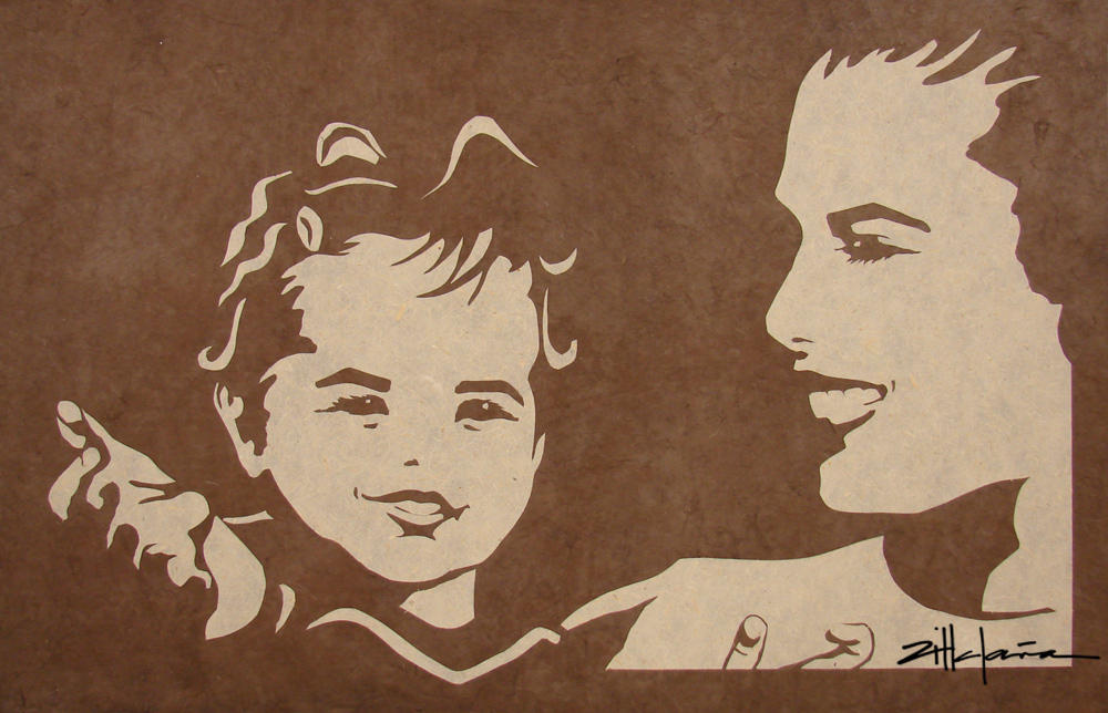 "Original Art , Female Figure in Paper ""MOTHER and DAUGHTER"" by Marcy Ann Villafaña"