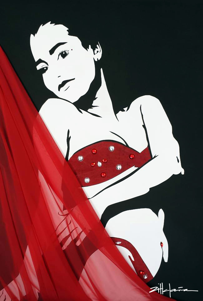 "Original Art , Female Figure in Mixed Media (handmade paper on paperwith fabric & gems) ""the SWING"" by Marcy Ann Villafaña"