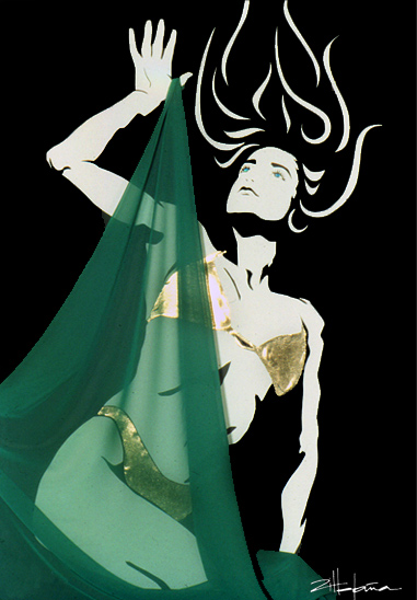 """Original Art , Female Figure in Mixed Media - paper with fabric """"EMERGENCE"""" by Marcy Ann Villafaña"""