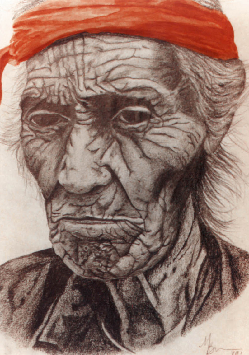 "Original Art , Figurative Art - Graphite and Water Color ""NATIVE MAN"" - Resting"" by Marcy Ann Villafaña"