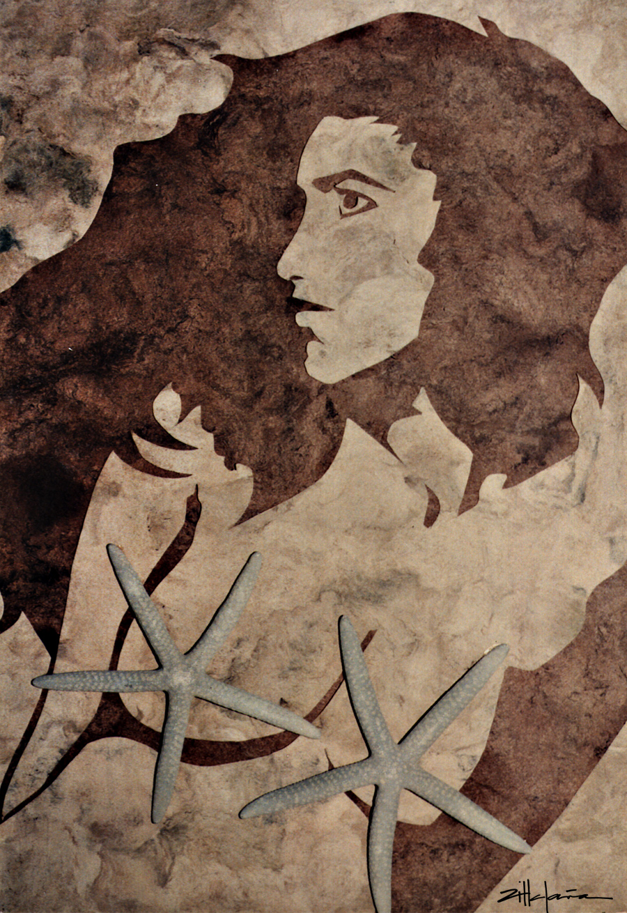 "Original Art , Female Figure in Indian Bark Papers and Star Fish ""STAR DUST by Marcy Ann Villafaña"