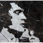 "Original Art, Elvis Presley (sand blast) Marble Stone Art ""the KING"" by Marcy Ann Villafaña"