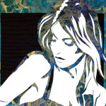 "Original Art, female figurative, mixed media (paper, ink, paint) - ""TIMID"" by Marcy Ann Villafana"