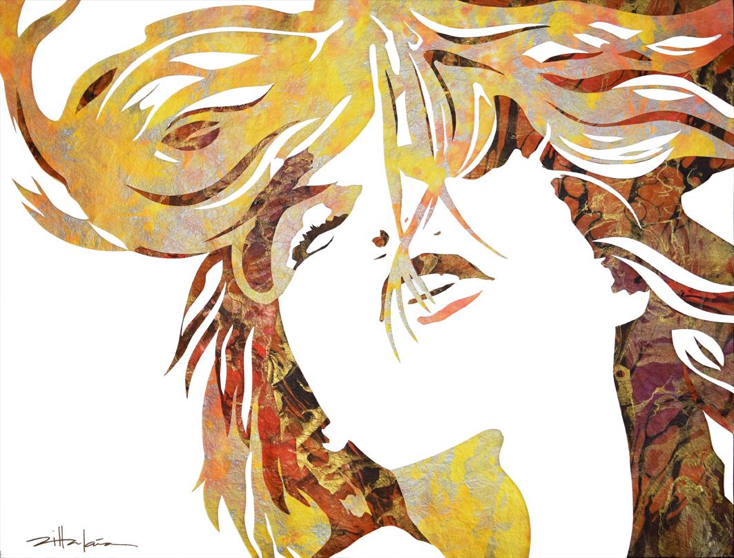 "Original Art, Female Figure in Mixed Media (handmade paper on paper) & metallic paint ""A New Awakening"" by Marcy Ann Villafaña A New Awakening 26"" x 32"" Paper on Paper with inks 2015"