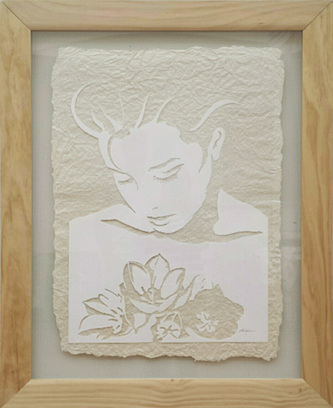 "Original Art , Female Figure in Mixed Media (handmade paper on paper) ""THROUGH THE TULIPS"" by Marcy Ann Villafaña"