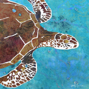 """Danza de las Tortugas - Dancing Green Sea Turtles of the Caribbean Oceans - Original fine art by Marcy Ann VIllafana """"24 x 24"""" mixed media - paper on cut paper with inks and glass"""