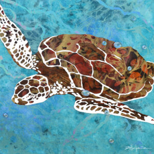 Danza de las Tortugas - Dancing Green Sea Turtles of the Caribbean Oceans - Original fine art by Marcy Ann VIllafana