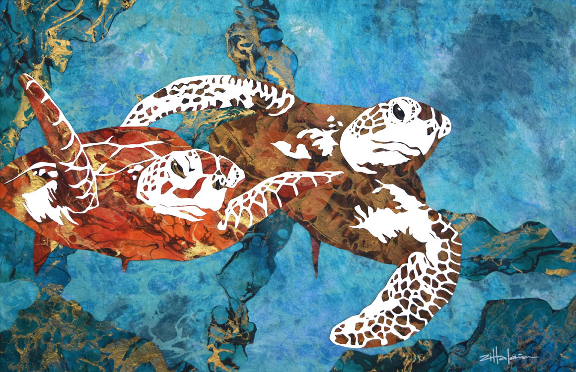 Animals wet wild with fine ocean life artist marcy ann for Sea life paintings artists