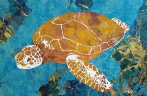 """YELLOW HONU"" Ocean art by Fine Artist Marcy Ann Villafana"