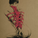 """Original Art, Nude Art Female - Charcoal - Graphite, conte, pastel drawing """"LADY IN RED"""" by Marcy Ann Villafaña"""